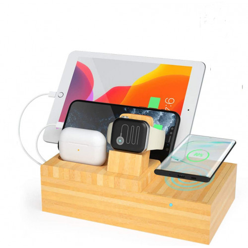 Bamboo PD Charging Station & Fast Charging Dock Organizer | 3 PD/USB Port & 1 Qi Wireless |  Apple & Android, iPad Watch, AirPods - Multi Charger Station