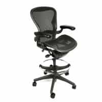 "Herman Miller Aeron Chair Fully Adjustable Graphite Size C Drafting Stool by Beverly Hills Chairs with 27""-34"" Height"