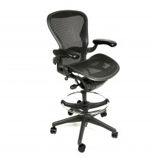 "Herman Miller Aeron Chair Fully Adjustable Graphite Size A Drafting Stool by Beverly Hills Chairs with 27""-34"" Height"