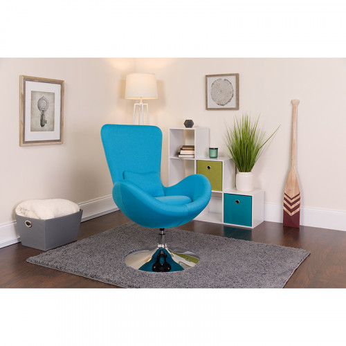 Aqua Fabric Egg Chair - Reception Room