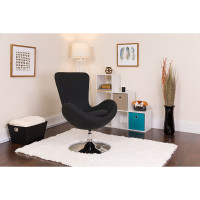 Black Fabric Egg Chair - Reception Room