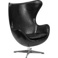 Egg Chair - Black Leather