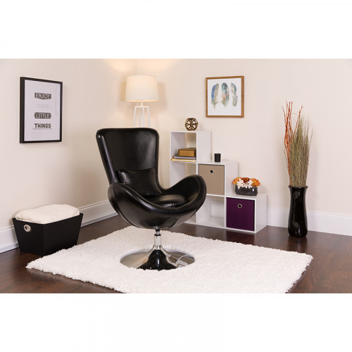 Black Leather Egg Chair - Reception Room