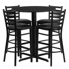 "Black Vinyl Barstools with 30"" Round Black Laminate Table Set"