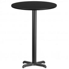 "30"" Round Black Laminate Bar Height Break Room Table"
