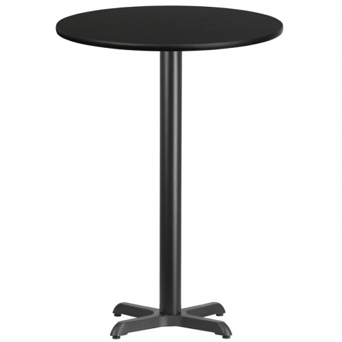 "30"" Round Black Laminate Bar Height Break Room Table"