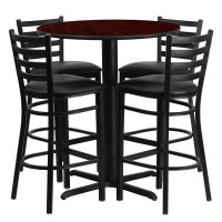 "Black Vinyl Barstools with 30"" Round Mahogany Laminate Table Set"