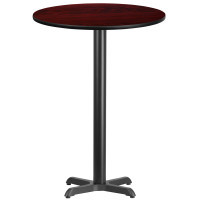"30"" Round Mahogany Laminate Bar Height Break Room Table"