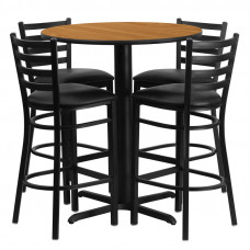 "Black Vinyl Barstools with 30"" Round Natural Laminate Table Set"