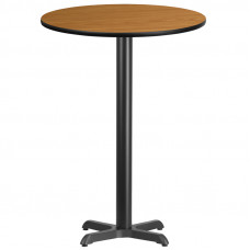 "30"" Round Natural Laminate Bar Height Break Room Table"