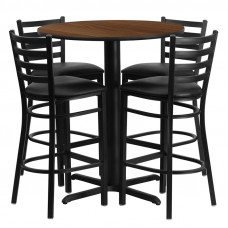"Black Vinyl Barstools with 30"" Round Walnut Laminate Table Set"