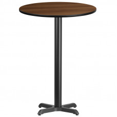 "30"" Round Walnut Laminate Bar Height Break Room Table"