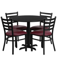 "Burgundy Vinyl Seats with 36"" Round Black Laminate Table Set"