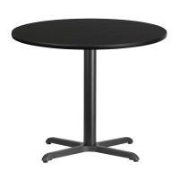 "36"" Round Black Laminate Break Room Table"