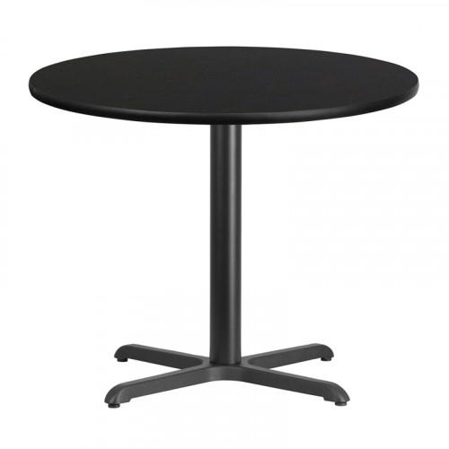 """36"""" Round Black Laminate Break Room Table"""