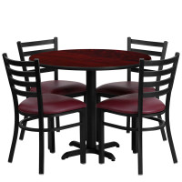 "Burgundy Vinyl Seats with 36"" Round Mahogany Laminate Table Set"
