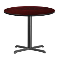 "36"" Round Mahogany Laminate Break Room Table"