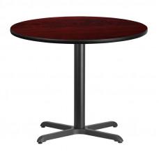 """36"""" Round Mahogany Laminate Break Room Table"""