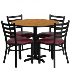 "Burgundy Vinyl Seats with 36"" Round Natural Laminate Table Set"