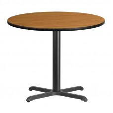"36"" Round Natural Laminate Break Room Table"