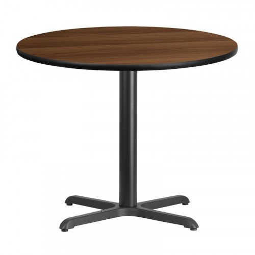"36"" Round Walnut Laminate Break Room Table"