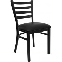 Black Vinyl Seat and Ladder Back Break Room Chair
