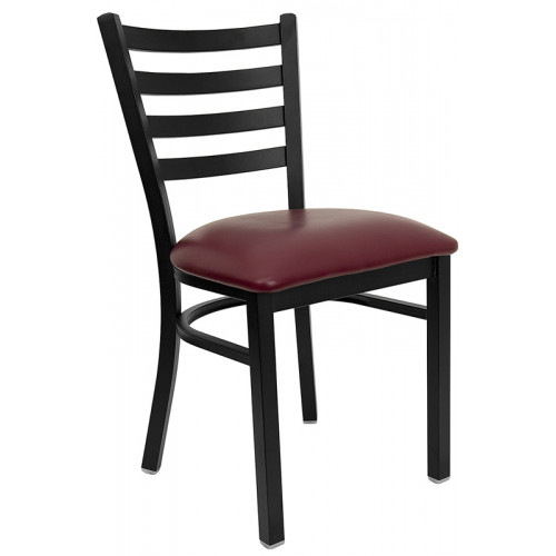 Burgundy Vinyl Seat and Black Ladder Back Break Room Chair
