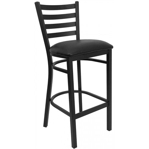 Black Vinyl Seat and Ladder Back Barstool Break Room Chair