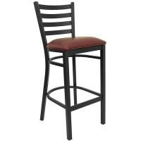 Burgundy Vinyl Seat and Black Ladder Back Barstool Break Room Chair