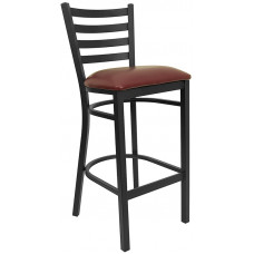 Burgundy Vinyl Seat and Black Ladder Back Barstool Break Room Chair