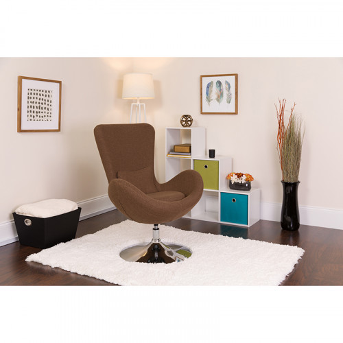 Brown Fabric Egg Chair - Reception Room