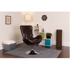 Brown Leather Egg Chair - Reception Room