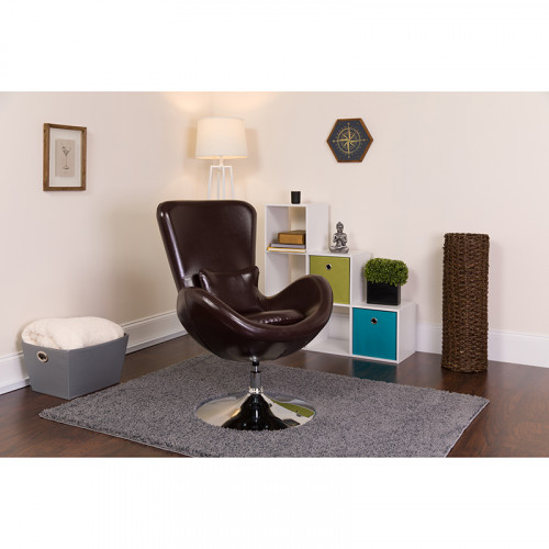 Brown Leather Egg Chair   Reception Room
