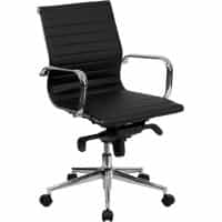 Black Leather Ribbed Conference Chair