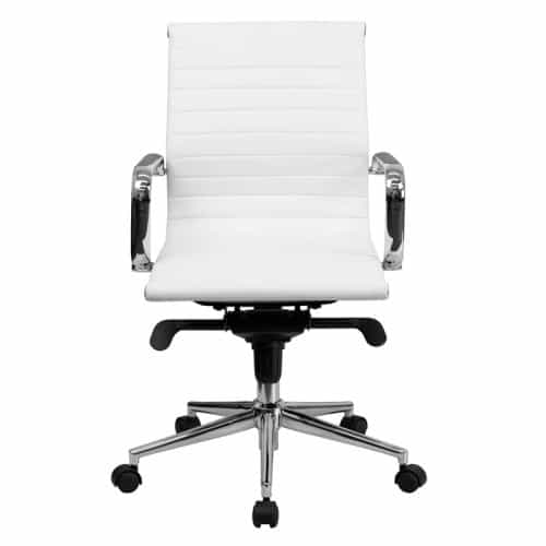 White Leather Ribbed Conference Chair