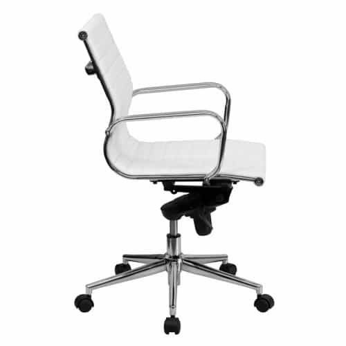 White Leather Ribbed Conference Chair From Beverly Hills