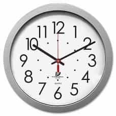 Round Wall Clock - White/Silver
