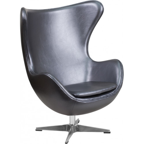 Egg Chair - Silver Leather