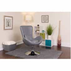 Gray Leather Egg Chair - Reception Room