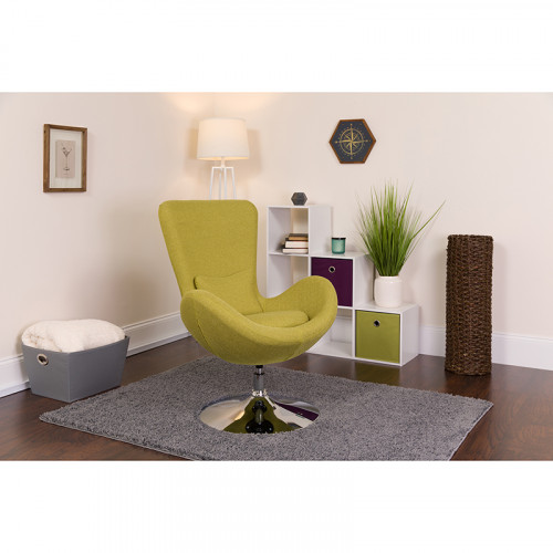 Green Fabric Egg Chair - Reception Room