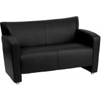 Zeus Black Leather Love Seat