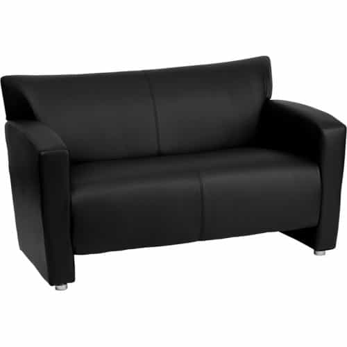 Zeus Black Leather Love Seat