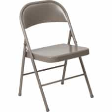 Beige Metal Folding Chair