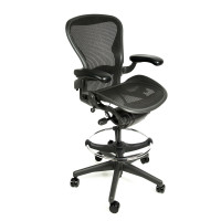"Herman Miller Aeron Chair Fully Adjustable Graphite Drafting Stool by Beverly Hills Chairs with 27""-34"" Height"