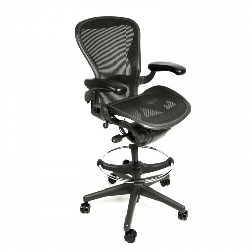Herman Miller Aeron Chair Fully Adjustable Graphite Size B Drafting Stool  By Beverly Hills Chairs With ...