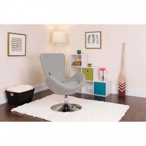 Gray Fabric Egg Chair - Reception Room