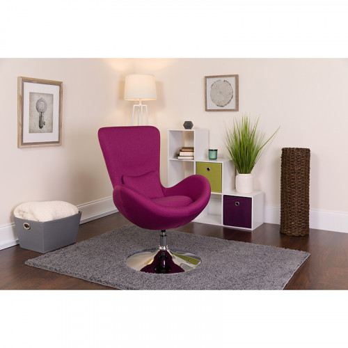Magenta Fabric Egg Chair - Reception Room