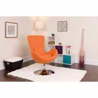 Orange Fabric Egg Chair - Reception Room