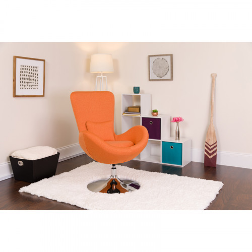 Orange Fabric Egg Chair - Reception Room