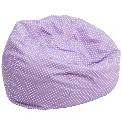 Oversized Bean Bag Chair - Lavender with White Polka Dots